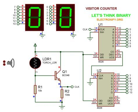 Visitor Counter Circuit Diagram Simple Electronics Hobby Project For