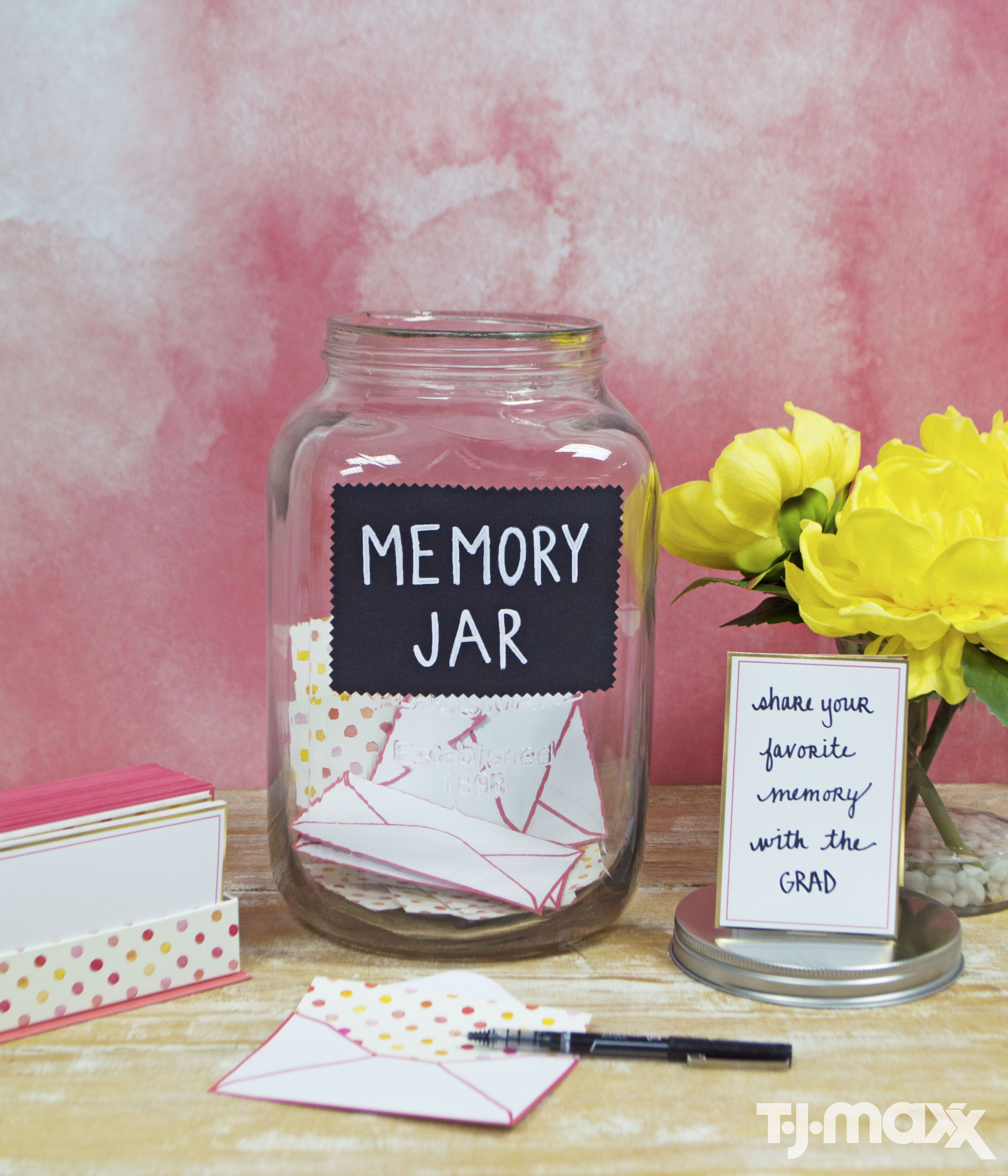Everyone Will Have Something To Say The Grad All You Need Is An Oversized Mason Jar Stationary Cards Pens Done A Memorable Graduation Diy