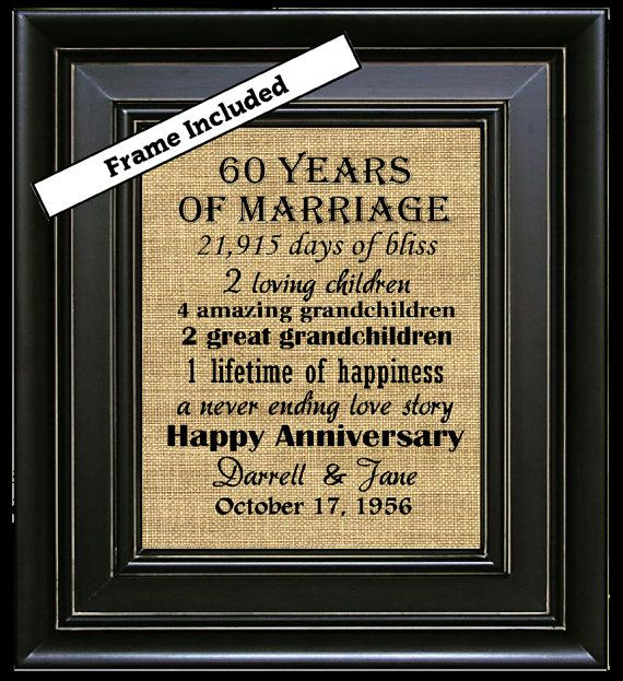 60th Wedding Anniversary/60th Anniversary Gifts/60th Wedding ...