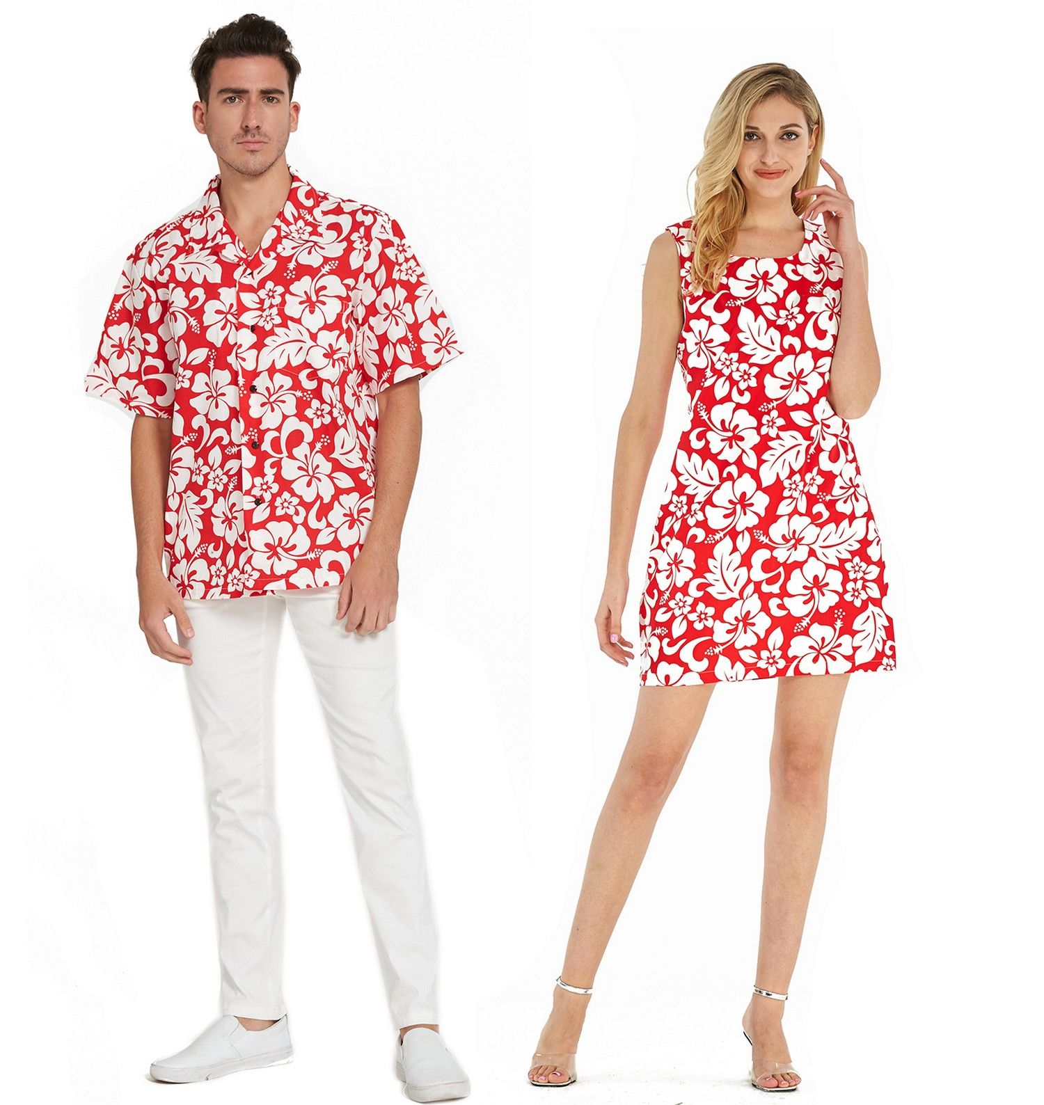 Couple Matching Hawaiian Luau Cruise Outfit Shirt Tank Dress Classic Vintage Hibiscus Red Men Xl Women In 2020 Hawaiian Outfit Luau Outfits Matching Couple Outfits
