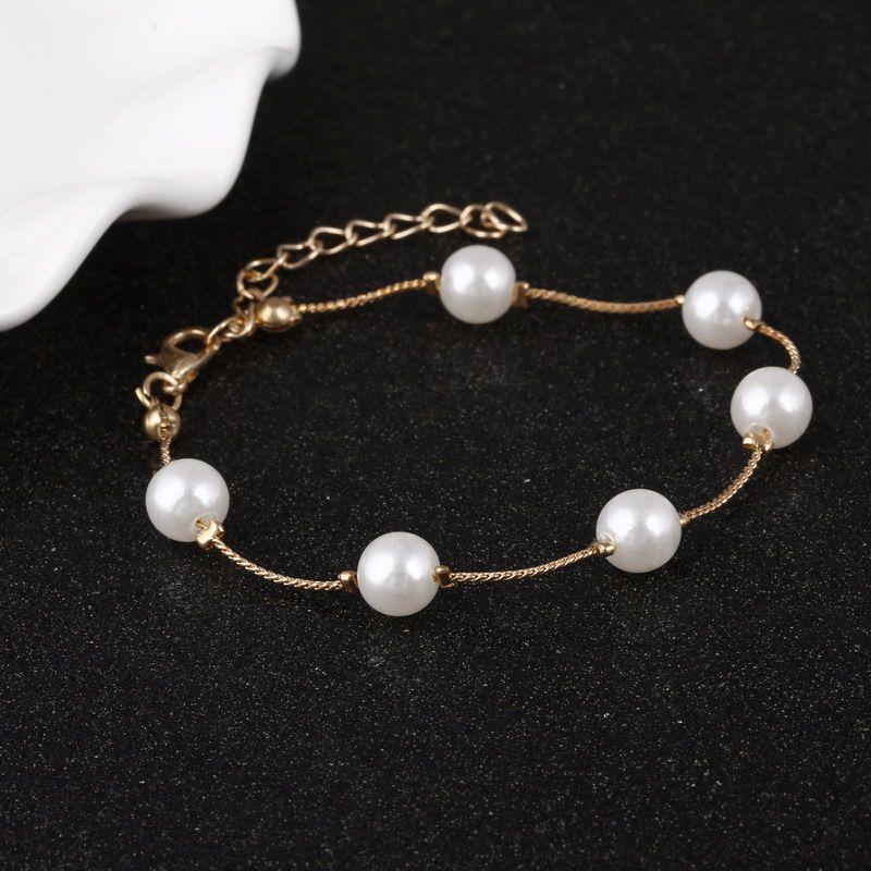 Exquisite Imitation Pearl Bracelet Rose Gold Color Bracelets Anklets