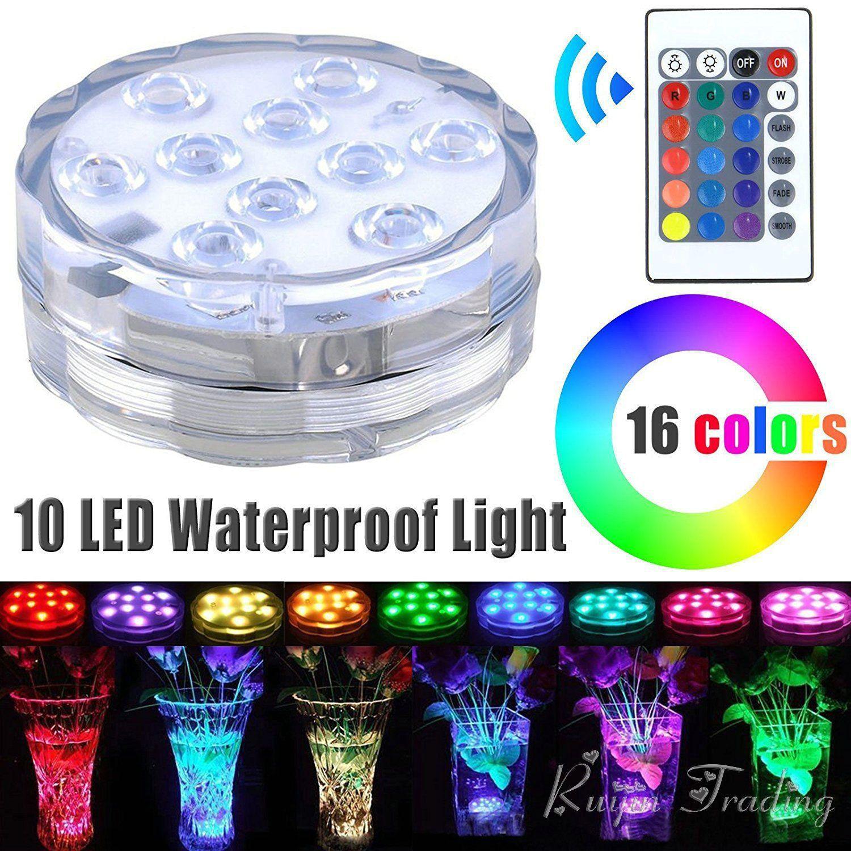 10 Led Telecomandato RGB Luce Sommergibile Batteria Operated Underwater Lampada di Notte Vaso Ciotola Esterna Giardino Decorazione Del Partito