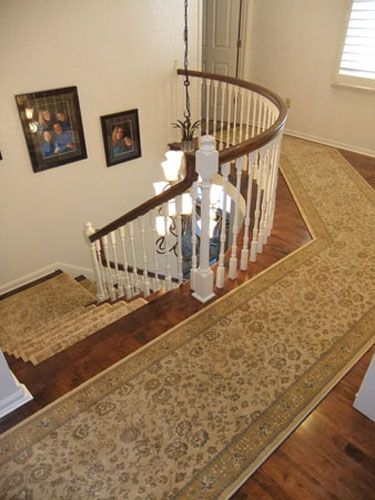 Unique Custom Curved Hallway Area Rug Runner Installed With Matching Staircase