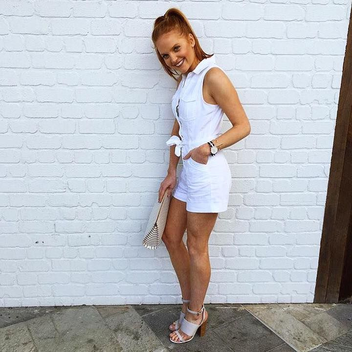 The Chambray Playsuit is available in Boutiques and Online in white and indigo! Styled with the Giselle Heel and the Liya Clutch xx