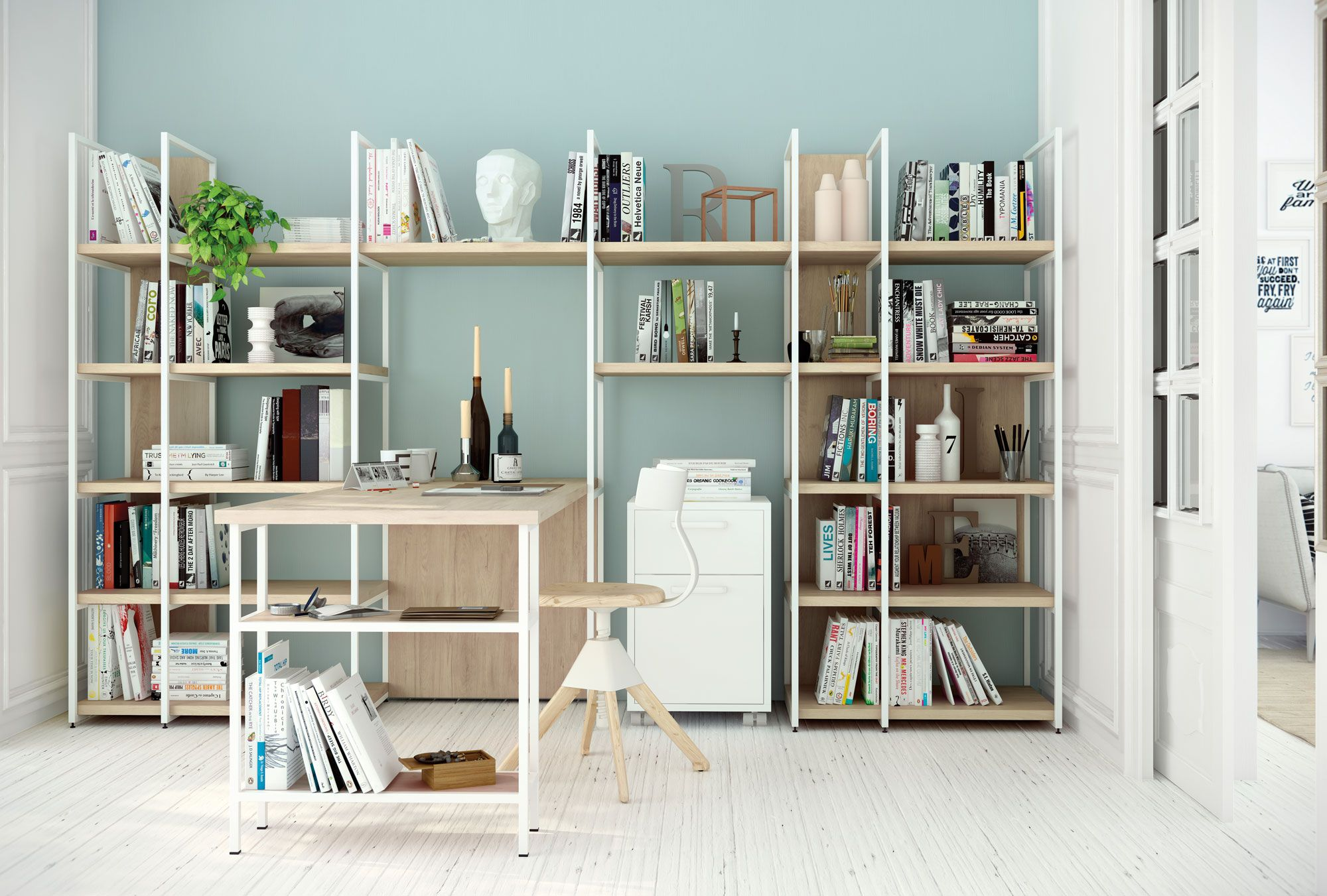 Espacio de trabajo estanter a con mesa de trabajo escritorio inspiraci n de estilo n rdico en - Decoracion de estanterias ...