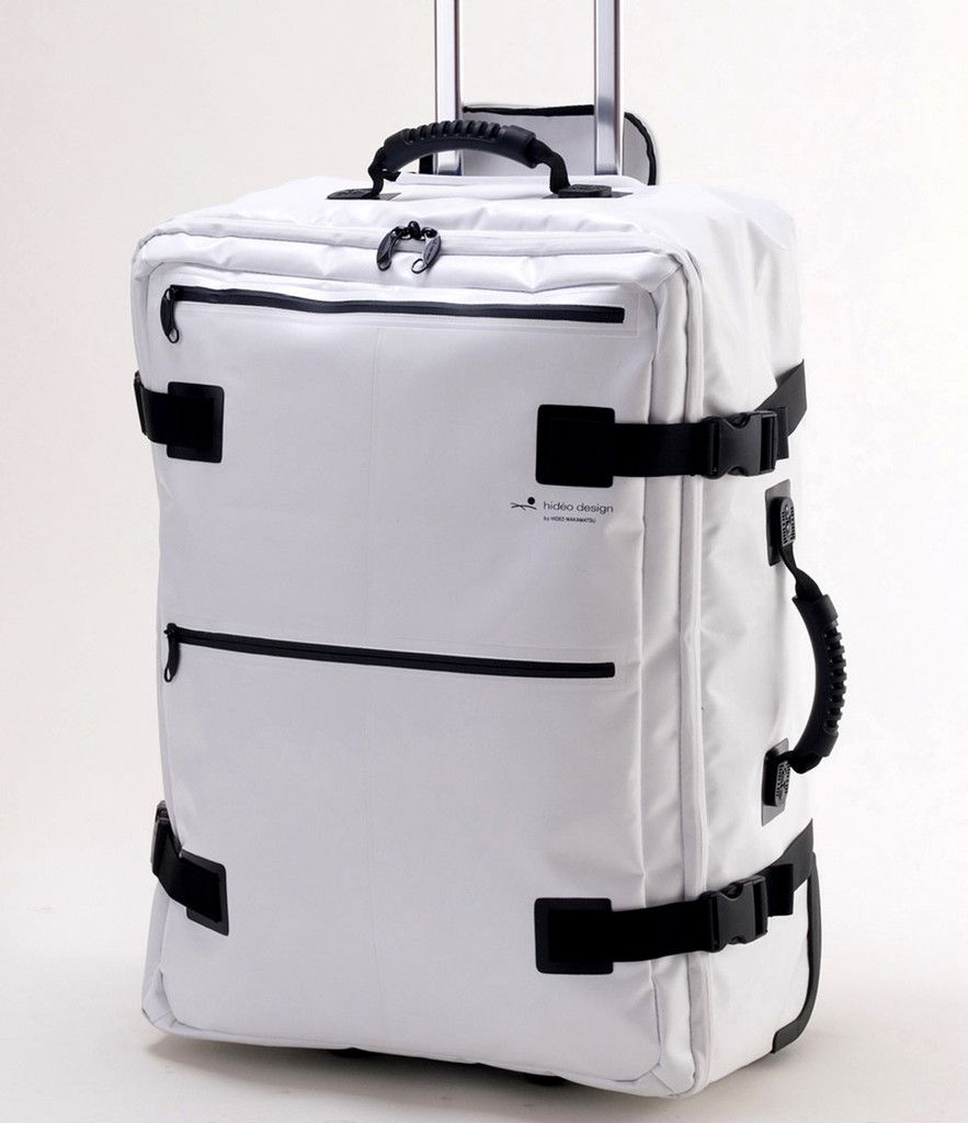 """Hideo Wakamatsu Tarpaulin 25"""" White Carry-on. There's also a messenger bag to pair it with."""