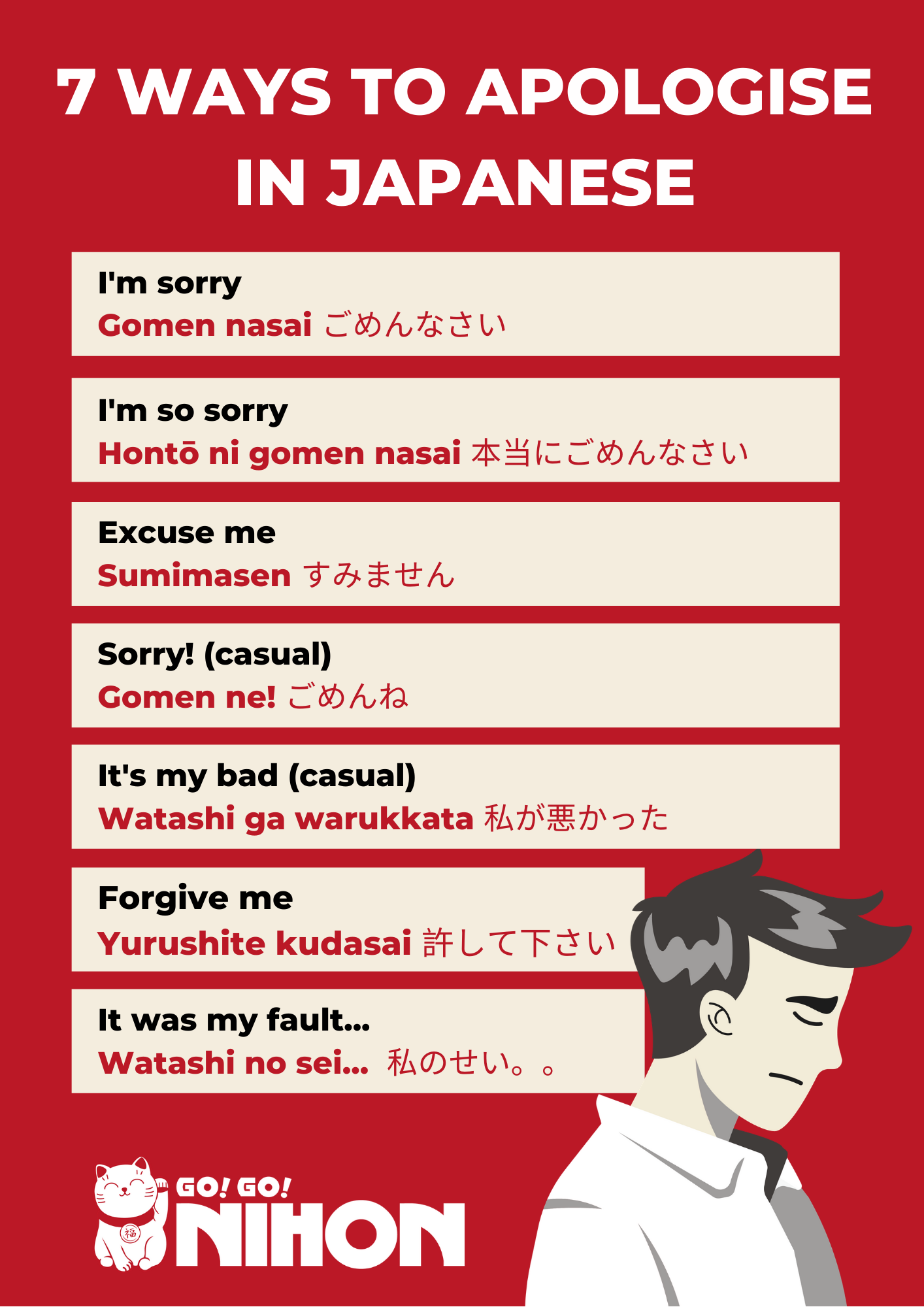 7 Ways to Apologise in Japanese in 2020 | Japanese language learning,  Japanese words, Learn japanese words