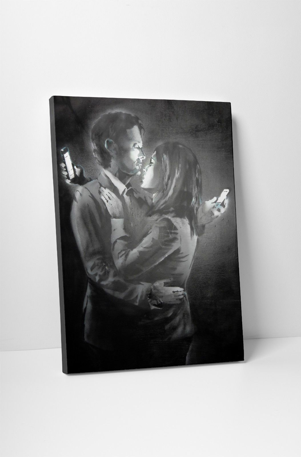 Banksy Mobile Lovers Gallery Wrapped Canvas Print Bonus Banksy - Can i put a wall decal on canvas
