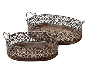 Set di 2 vassoi in legno e metallo Amira - max l 62 cm