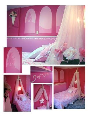 Bre wants a princess room and although this room is way too pink, the blog has lots of good ideas I may use
