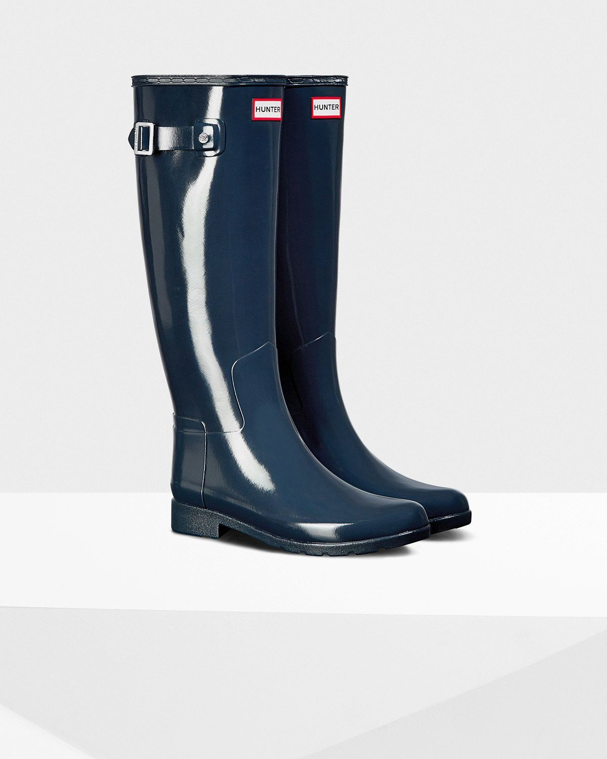 4b8a9bbbb51 Women's Refined Slim Fit Gloss Rain Boots: Navy by Hunter in 2018 ...