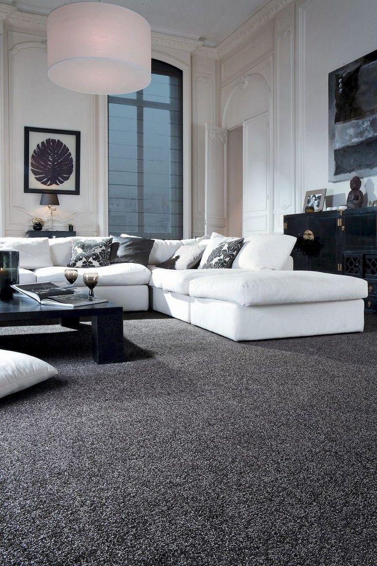 62 Stunning Black White Living Room Decor Trends Grey Carpet Living Room White Living Room Decor Black Carpet Living Room