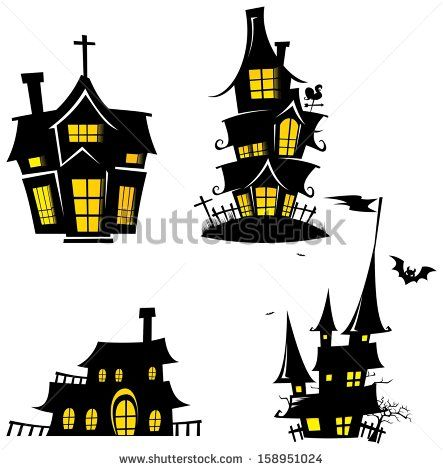 Creepy House Silhouette - Halloween Element Template Design Vector - halloween template