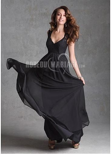 Col en v chiffon robe demoiselle d'honneur robe sur mesure [#ROBE208652] - robedumariage.com
