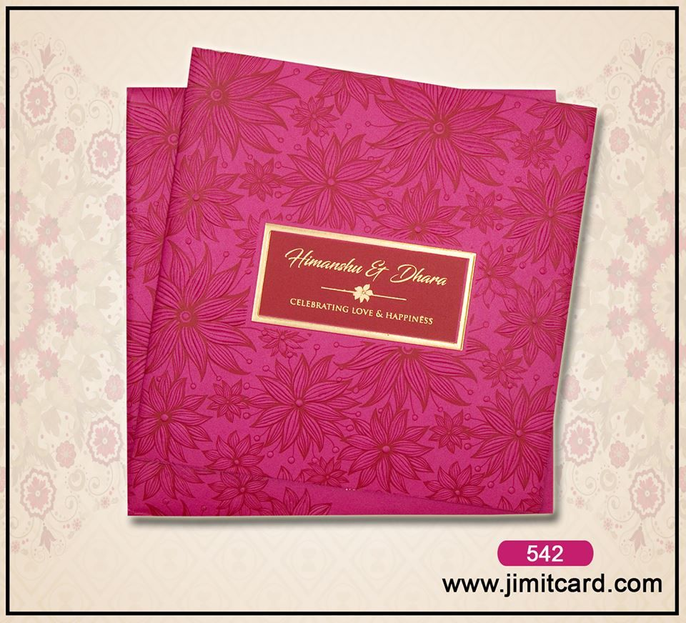 A Pink Textured Paper with a shimmering finish & Flower Printed ...