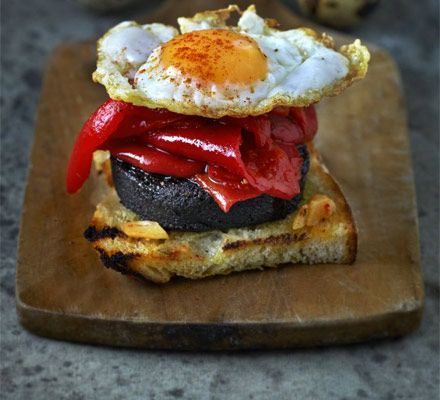 Pepper morcilla stacks with quails eggs recipe recipes bbc pepper morcilla stacks with quails eggs recipe recipes bbc good food forumfinder Image collections