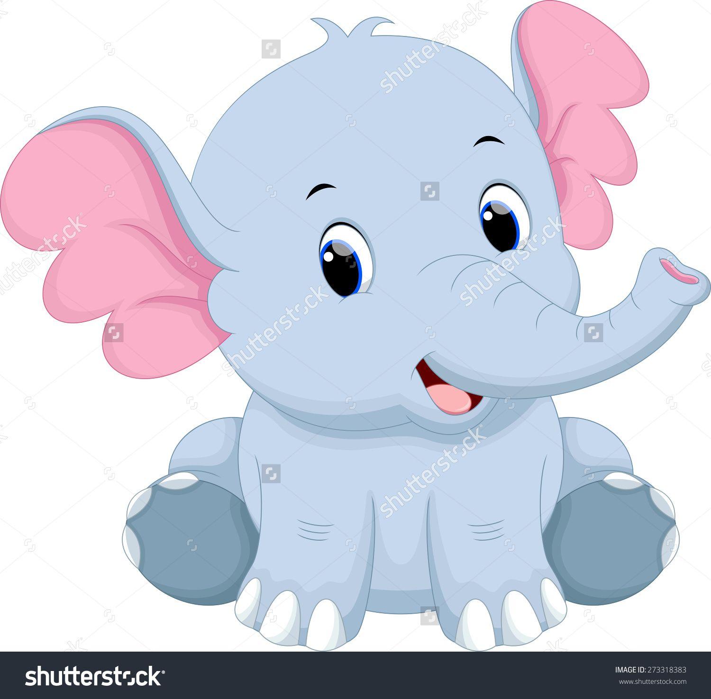 Cute Baby Elephant Cartoon Stock fénykép 273318383 ...
