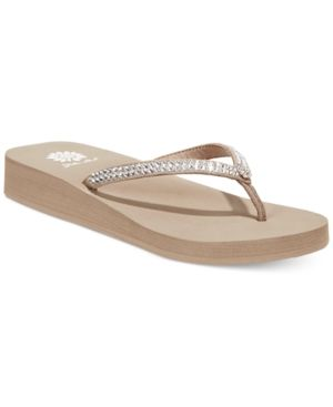 572ef6067 Yellow Box Jello Rhinestone Flip Flops - Tan Beige 8.5M