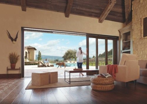 Love The Wooden Sliding Doors Out To Pool For Home Marvin Windows Mediterranean Living Rooms