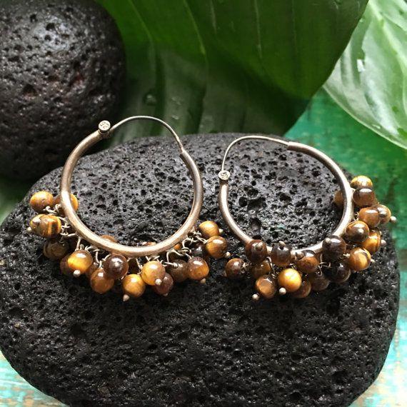 837d42ad0 Indian Silver Beaded Hoop Earrings w Brown Tiger's Eye | Cardamom ...