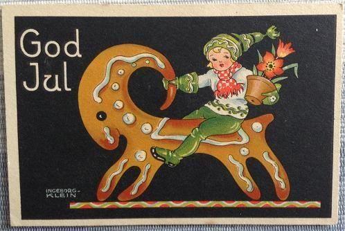 Annons på Tradera: Ingeborg Klein. Julkort julbock.
