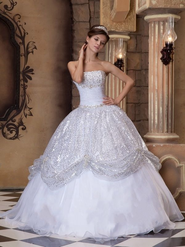 Strapless White Ball Gown Quinceanera Dress with Sequins | Variedad ...