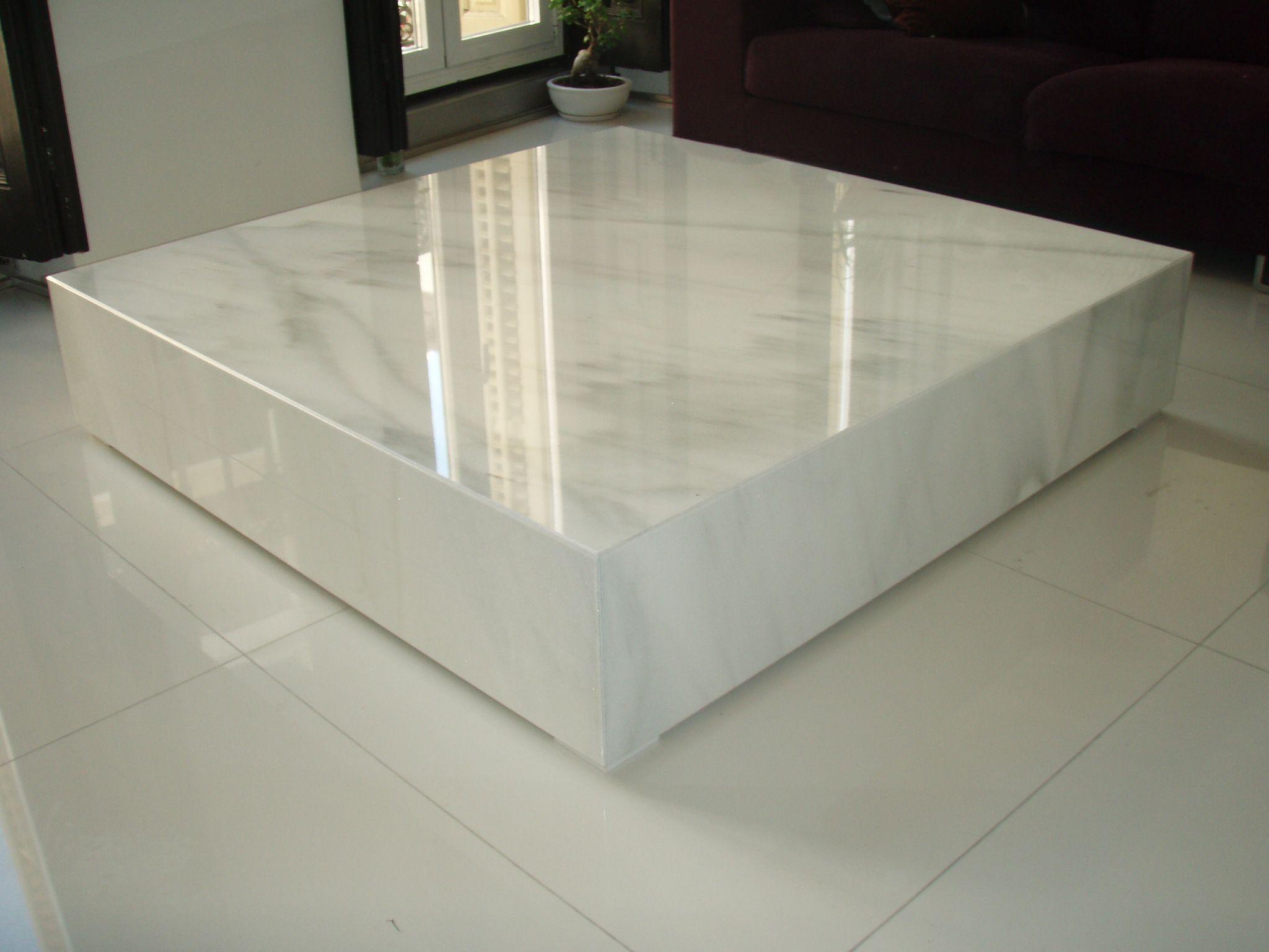 Mesa de marmol blanco macael pulido for Mesa centro marmol