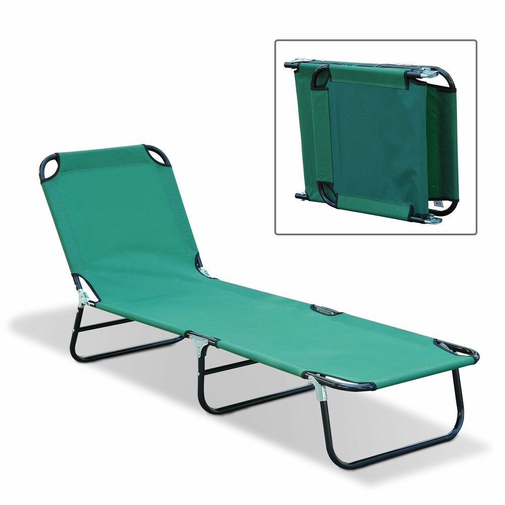 Outdoor Sun Chaise Lounge Recliner Patio Camping Cot Bed Beach Pool Chair Fold Beach Bed Camping Chair Chaise Cot Fold Lounge Outdoor Patio Pool