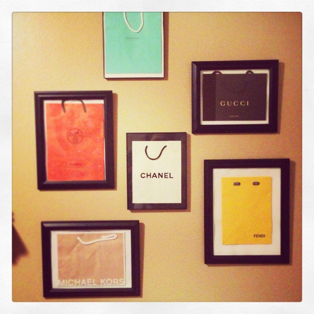Shopping bag art/picture decorating Using black frames VS white ...