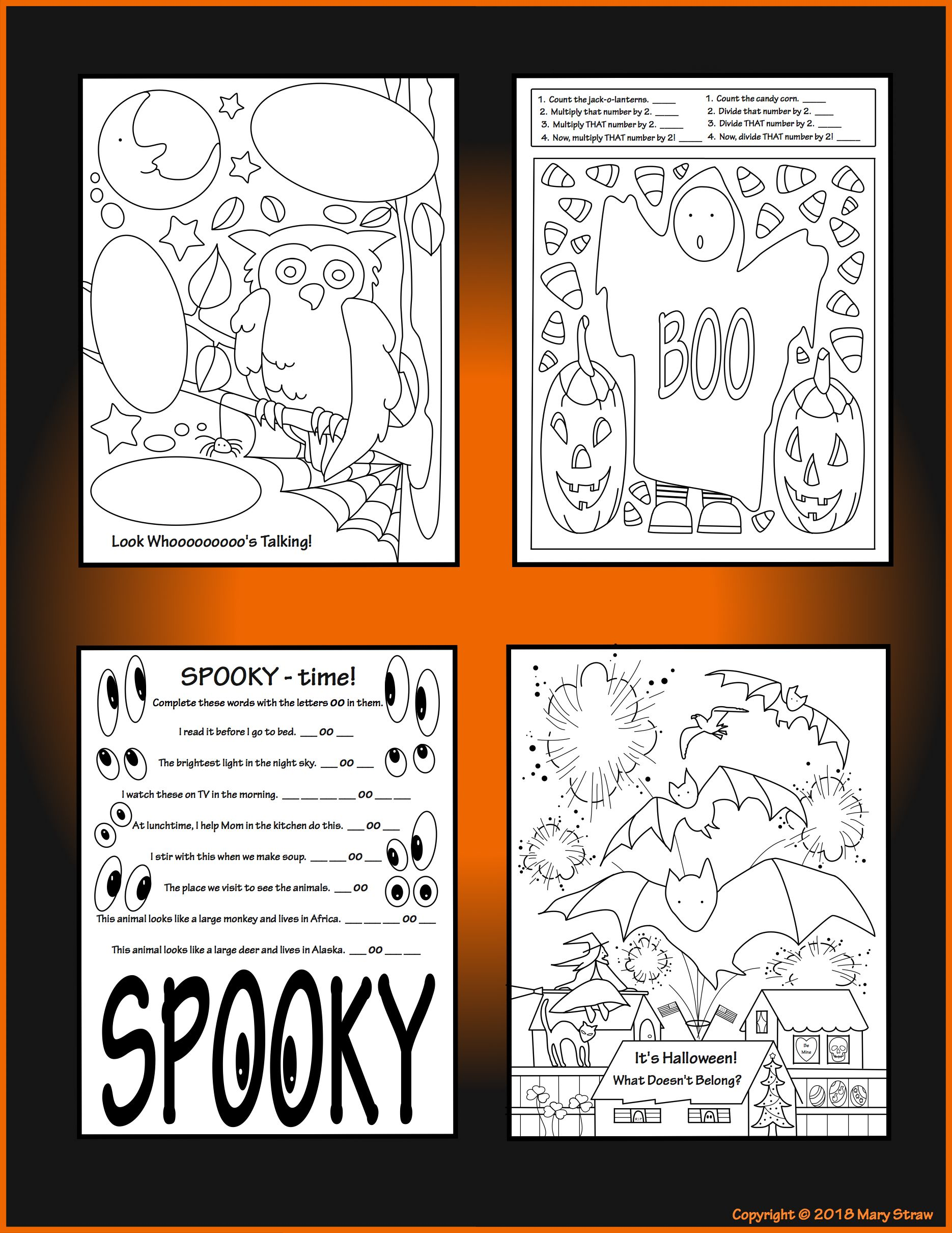 4 Fun More Than Just Coloring Pages For Your Little Monsters What Doesn T Belong Jelly Bean C Halloween Activities Halloween Kindergarten Coloring Pages [ 2420 x 1870 Pixel ]