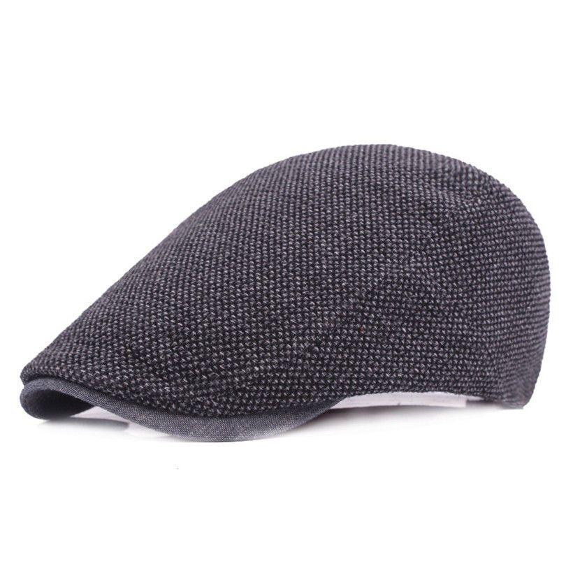 Glittering time Black Grey Wool Hat Man Newsboy Caps