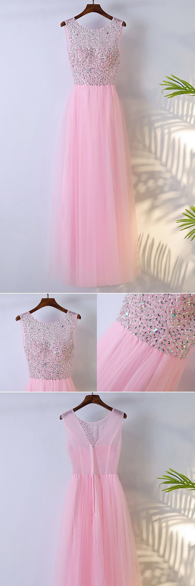 Cute Pink Long Sleeveless Prom Dress With Bling Sequins - $109 ...