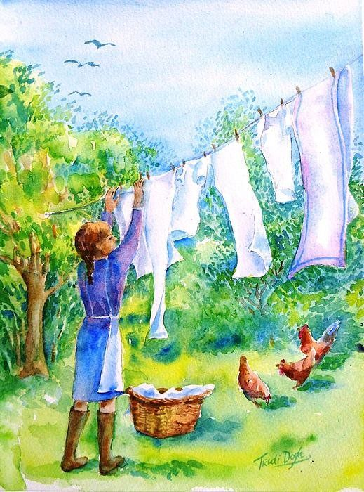 Windy Day Clothesline Art Print by Trudi Doyle is part of Clothes Illustration Clotheslines - Windy Day Clothesline  Art Print by Trudi Doyle   All prints are professionally printed, packaged, and shipped within 3  4 business days  Choose from multiple sizes and hundreds of frame and mat options