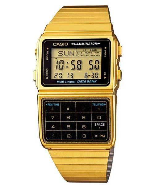 f90b35fa90f0 Reloj Casio Retro Dbc 611 Dorado Data Bank 25 Memorias Luz -   849.00 en  MercadoLibre