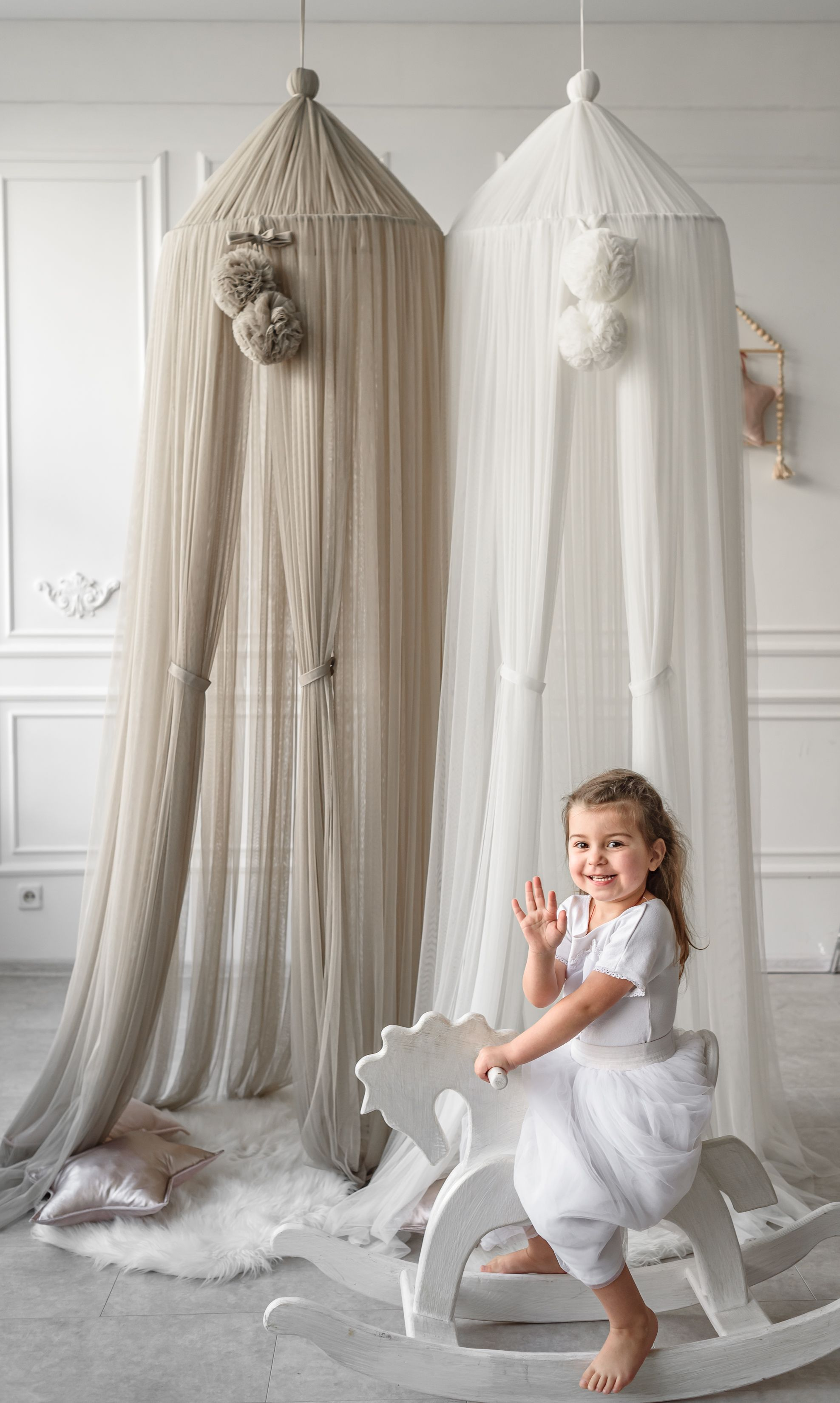 Baby Bed Canopy Kids Crib Netting Palace Style Children Room Curtain Dome Mosquito Net Cotton Baby Girls Mantle Nets
