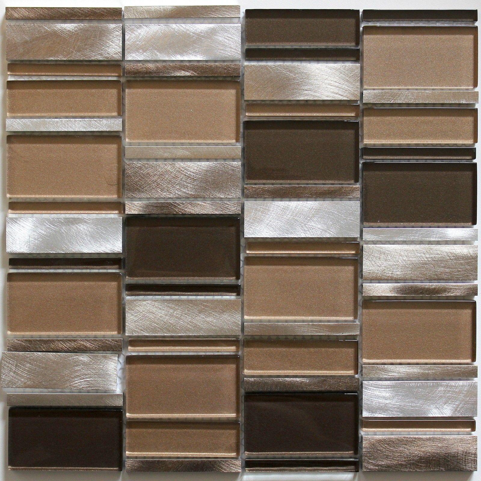 mosaique daluminium et verre pour mur salle de bain et cuisine 1m cetimarron - Credence Verre Salle De Bain