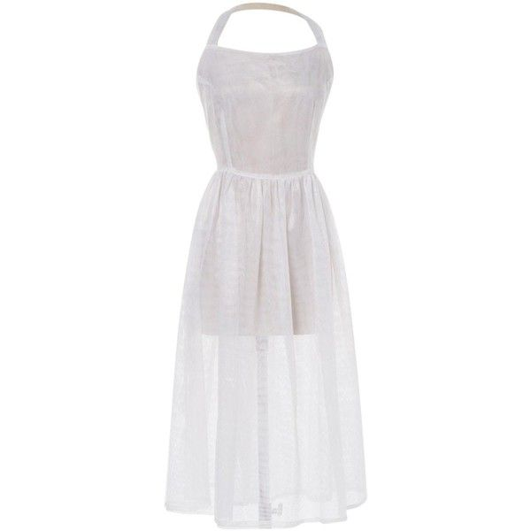 Pre-owned Jacquemus Mid-Length Dress (7 850 UAH) ❤ liked on Polyvore featuring dresses, white, women clothing dresses, flare dress, white dress, shirred dress, white mid length dress and white flared dress
