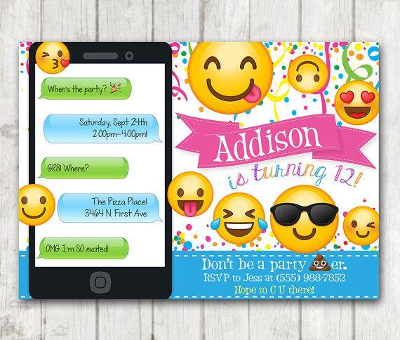 Printable Emoji Birthday Party Invitation Emoji Invitations Iphone