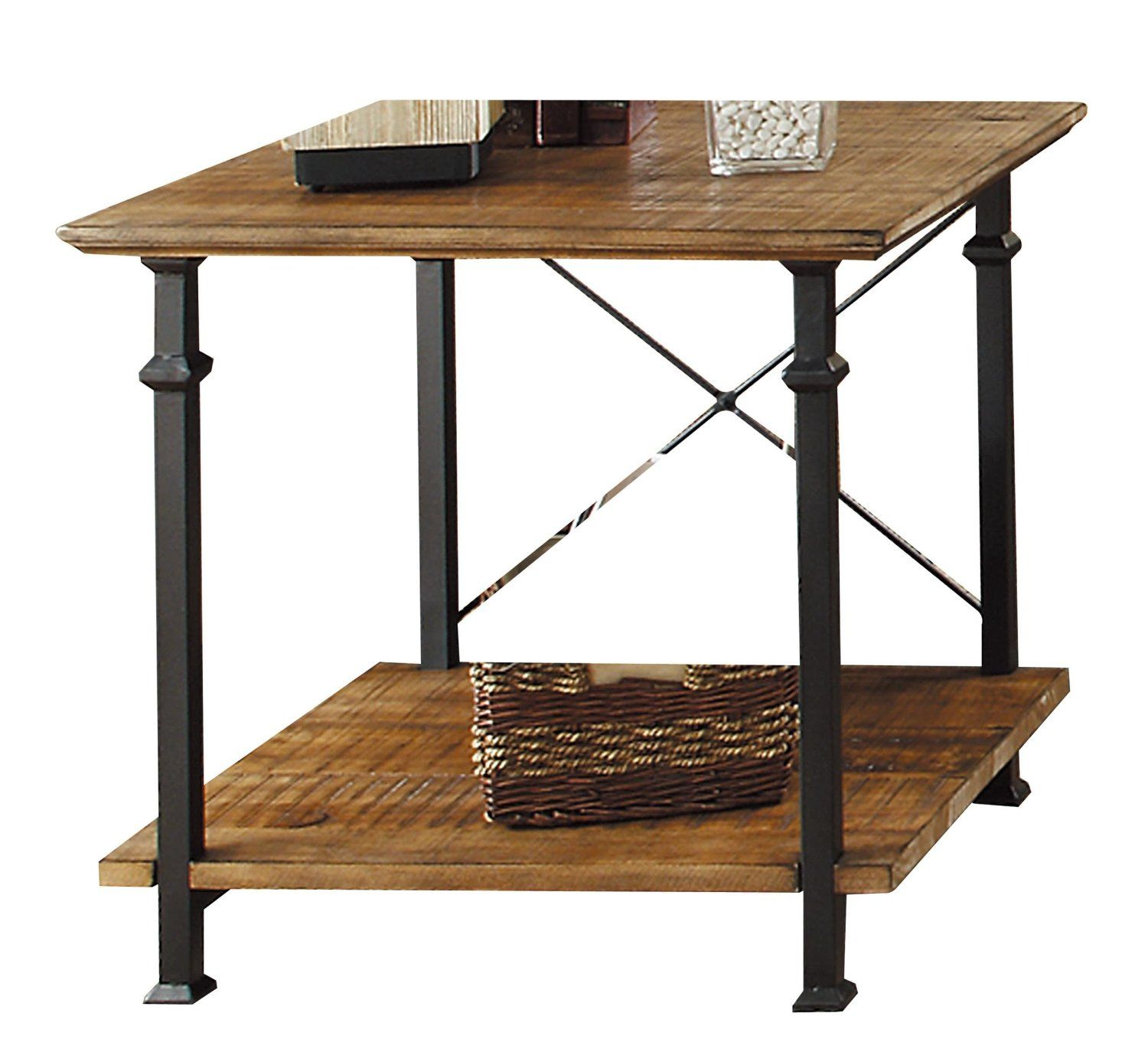 Amazon Com Homelegance Factory Modern Industrial Style End Table Rustic Brown Home Amp Kitchen Vintage Industrial Furniture Modern End Tables End Tables