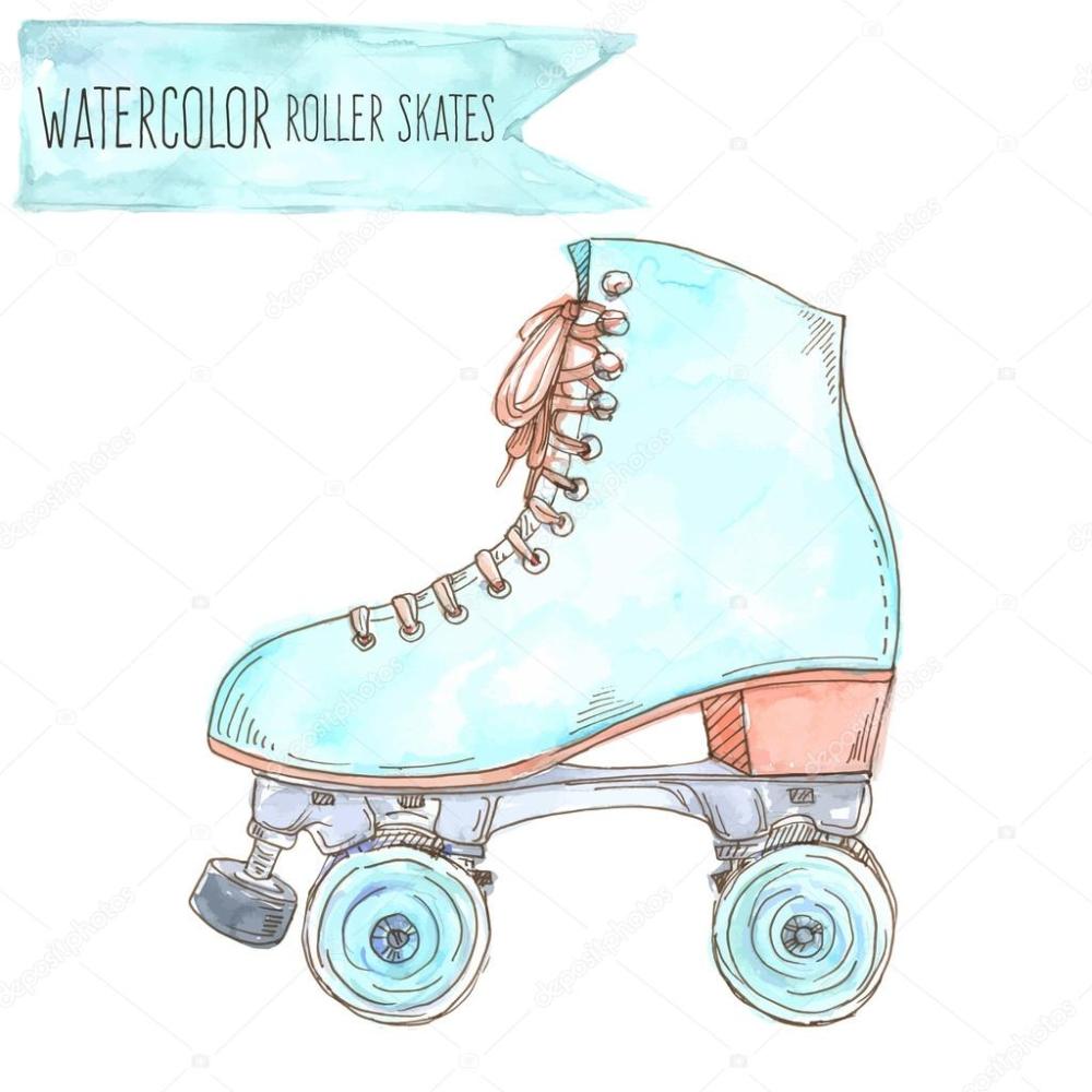 Watercolor Retro Roller Skate Vector Illustration Roller Skate Shoes Retro Roller Skates Women Sport Sneakers