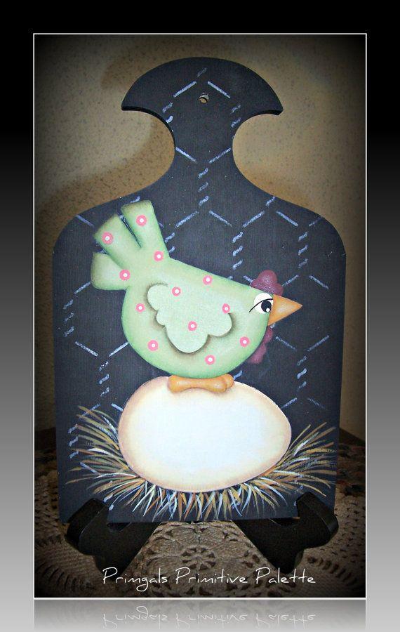 Primitive Chicken Egg Wood Plaque Primgals Primitive Palette On