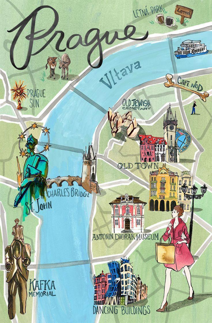 Mapa Najwazniejszych Zabytkow Pragi Www Shakeit Pl Prag Karte Prag Reisen Prag