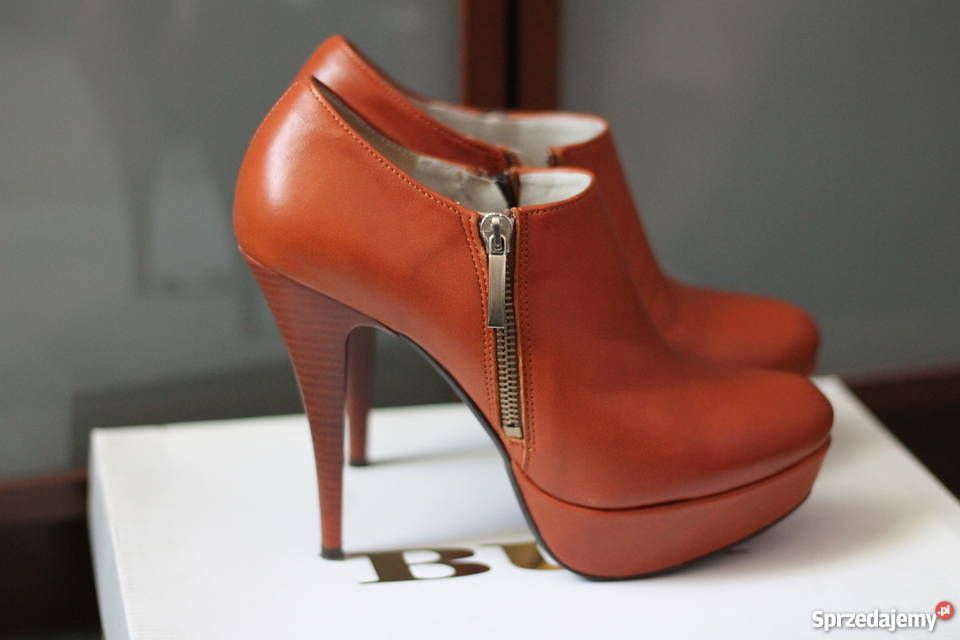 Skorzane Botki Heels Shoes Fashion