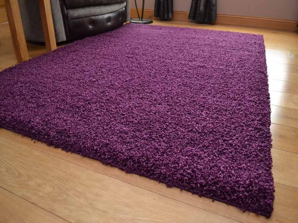 Plum Small Extra Large Size Very Soft Thick Pile Plain Dark Purple Shaggy Rugs In Home Furniture Diy Carpets Ebay