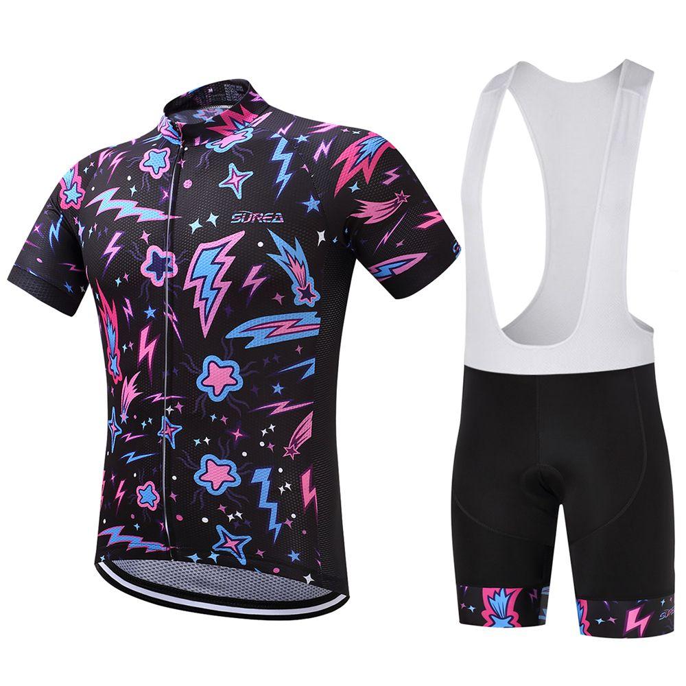 Pro Team Mens Breathable Cycling Jerseys Short Sleeve Bike Bicycle Bib Shorts
