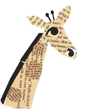 book paper collage of a giraffe by talented artist...inspiration for a card....maybe pssible...