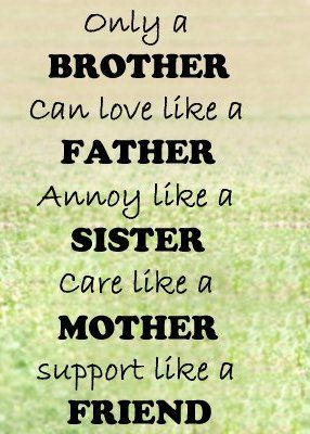 Only Brother Can Love Like A Father Annoy Like A Sister Care Like A Mother Support Like A Friend Funny Brother Quotes Brother Birthday Quotes Brother Quotes