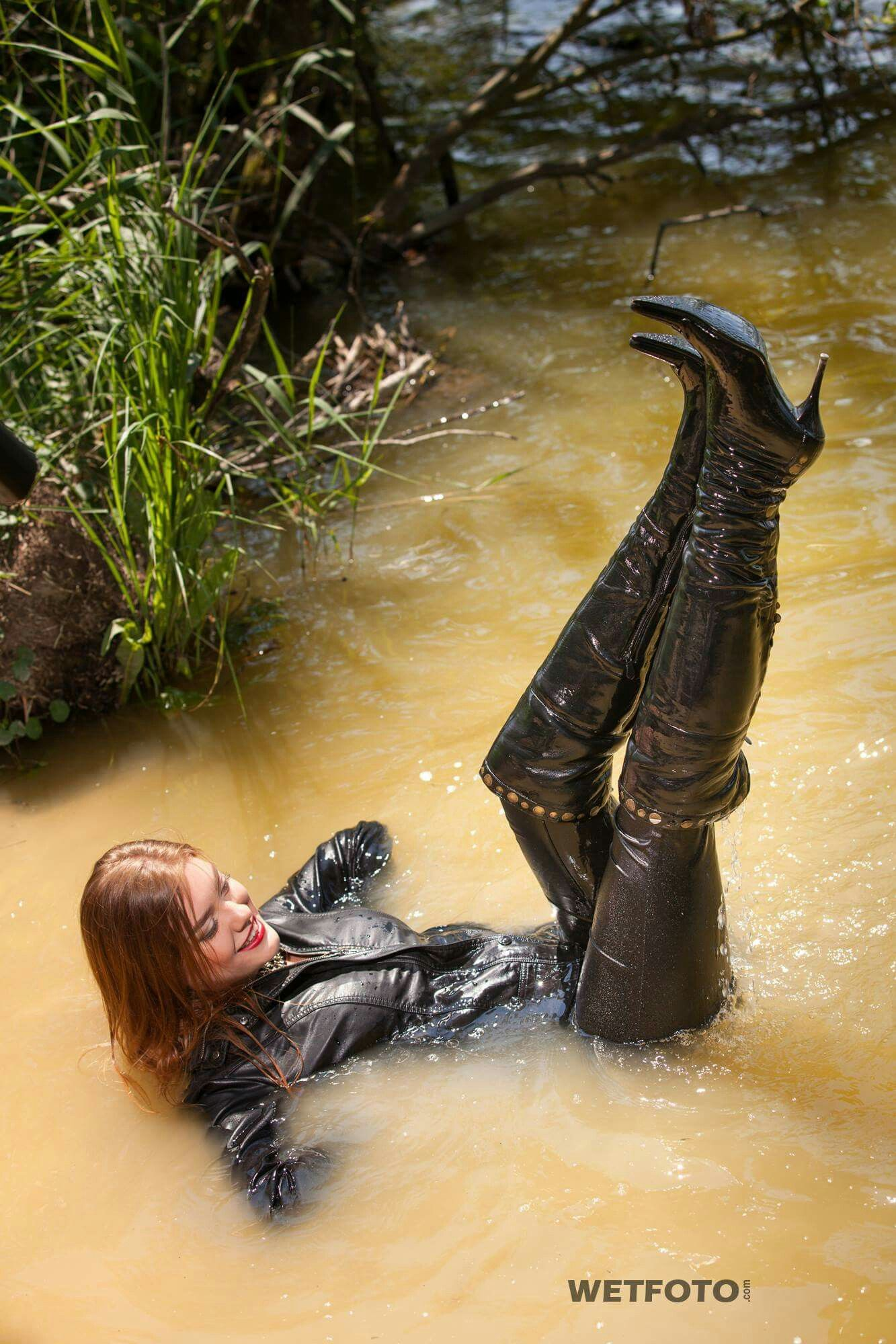 Muddy thigh boots in a summer dress