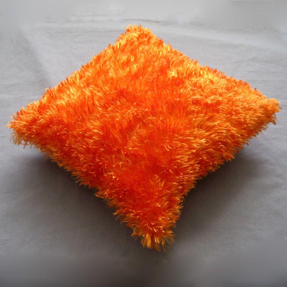 silky furry bright orange dream fuzzy throw pillow