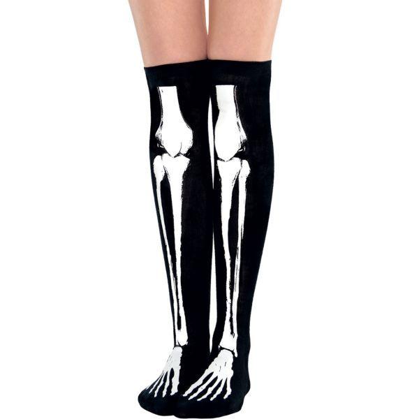 NEW WOMENS OVERKNEE STOCKINGS SOCKS FANCY DRESS HALLOWEEN BONES SOCKS SIZE PARTY